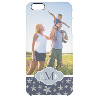 Sassy Seashell Pattern| Your Photo & Monogram Clear iPhone 6 Plus Case