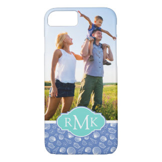 Sassy Seashell Pattern| Your Photo & Monogram iPhone 8/7 Case