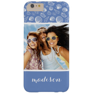 Sassy Seashell Pattern | Your Photo & Name Barely There iPhone 6 Plus Case