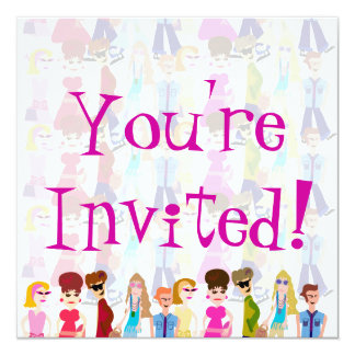 Sassy Sixties Kids! 13 Cm X 13 Cm Square Invitation Card