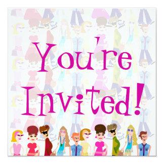 Sassy Sixties Kids! 13 Cm X 13 Cm Square Invitation Card
