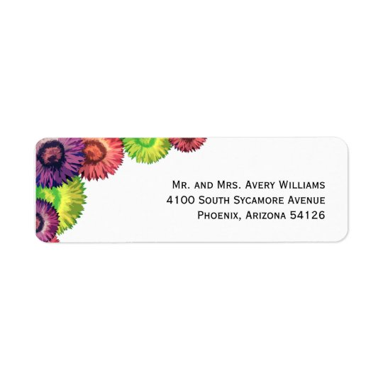 Sassy Spring Flowers Modern Return Address Label
