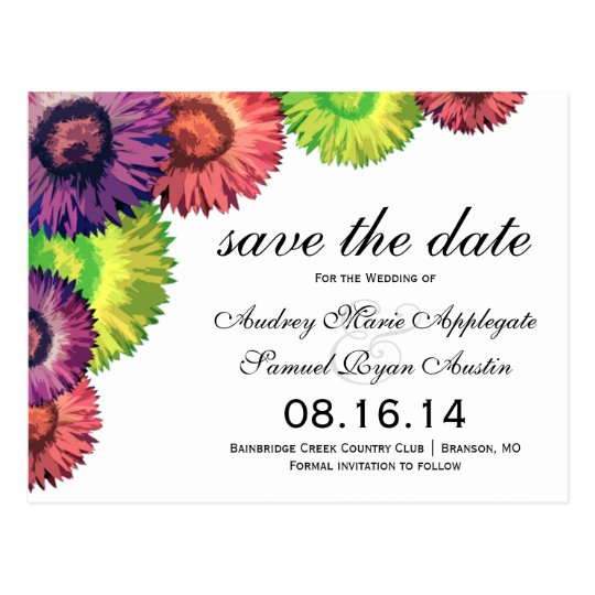 Sassy Spring Flowers Modern Wedding Save the Date