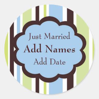 Sassy Stripe Blue and Brown Wedding Favor Sticker