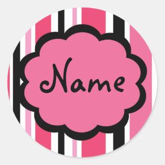 Sassy Stripe Pink and Black Sticker