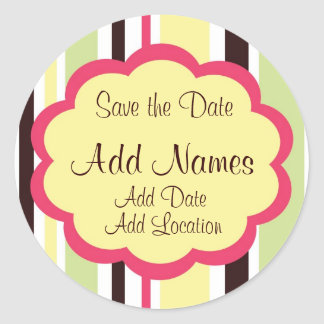 "Sassy Stripe Pink  Wedding ""Save the Date"" Sticker"