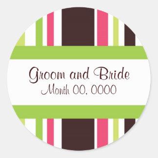 Sassy Stripes Pink and Green Wedding Sticker