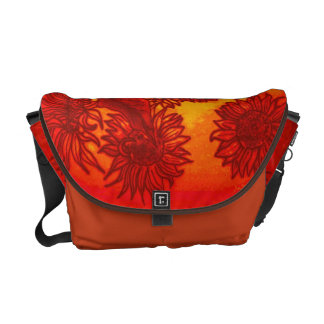 Sassy Sunflowers in Orange Courier Bag