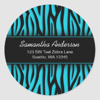 Sassy Teal Blue Zebra Custom Address Label
