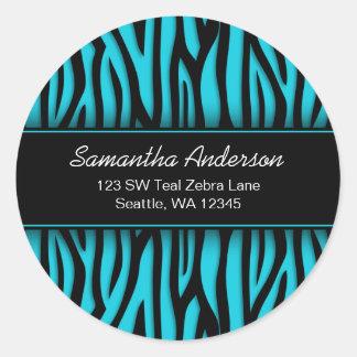 Sassy Teal Blue Zebra Custom Address Label Round Sticker