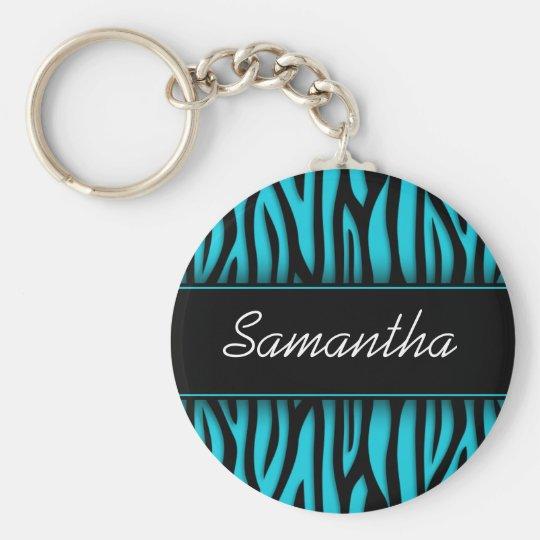 Sassy Teal Blue Zebra Personalised Key Ring