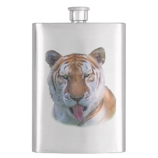 Sassy Tiger Cat Customizable Hip Flask