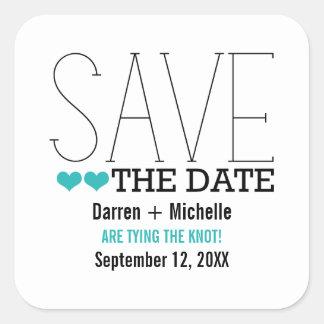 Sassy Typography Save the Date Stickers, Aqua Square Sticker