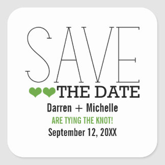 Sassy Typography Save the Date Stickers, Green Square Sticker