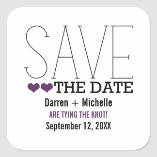 Sassy Typography Save the Date Stickers, Purple Square Sticker