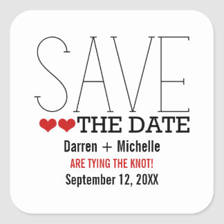 Sassy Typography Save the Date Stickers, Red Square Sticker