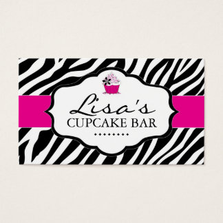 Sassy Zebra Cupcake Business Card