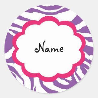 Sassy Zebra Personalized Gift Sticker