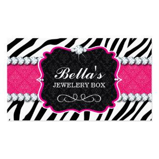 Sassy Zebra Stripe and Diamonds Business Card