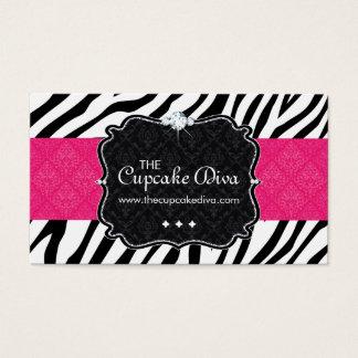 Sassy Zebra Stripe Cupcake Business Card