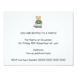 Sat At Computer Keyboard. 11 Cm X 14 Cm Invitation Card