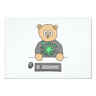 Sat At Computer Keyboard. 9 Cm X 13 Cm Invitation Card