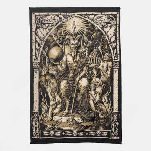 Satan Enthroned 16x24 on Twill Cotton - Kitchen Towels