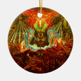 Satan inspiring the world christmas ornament