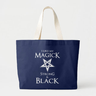 Satanic and Goth Black Magic Witches Pentagram Large Tote Bag
