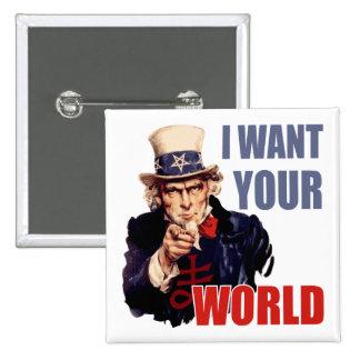 Satanic Capitalist Uncle Sam 15 Cm Square Badge