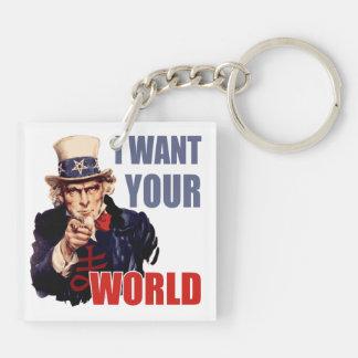 Satanic Capitalist Uncle Sam Square Acrylic Key Chain