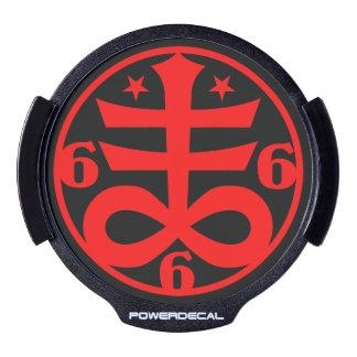 Satanic Cross Black Magick & Satanic Symbol LED Window Decal