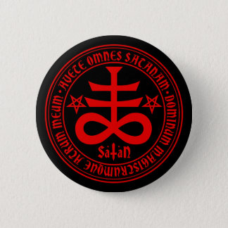 Satanic Cross with Hail Satan Text and Pentagrams 6 Cm Round Badge