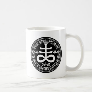 Satanic Cross with Hail Satan Text and Pentagrams Coffee Mug