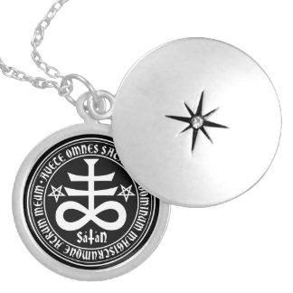 Satanic Cross with Hail Satan Text and Pentagrams Locket Necklace