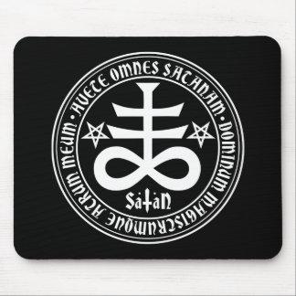Satanic Cross with Hail Satan Text and Pentagrams Mouse Mat