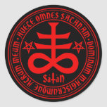 Satanic Cross with Hail Satan Text and Pentagrams Round Sticker