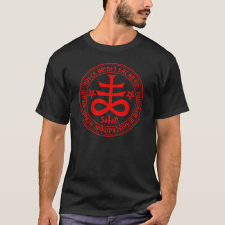 Satanic Cross with Hail Satan Text and Pentagrams T-Shirt