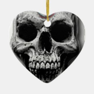Satanic Evil Skull Design Ceramic Heart Decoration