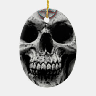 Satanic Evil Skull Design Ceramic Oval Decoration