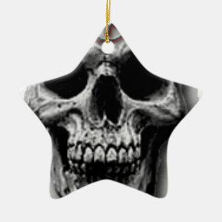 Satanic Evil Skull Design Ceramic Star Decoration