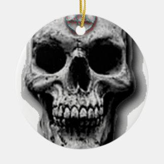 Satanic Evil Skull Design Round Ceramic Decoration