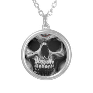 Satanic Evil Skull Design Silver Plated Necklace
