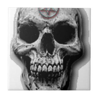 Satanic Evil Skull Design Tile