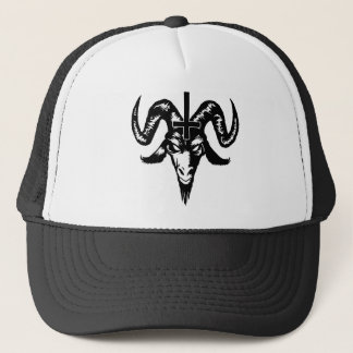 Satanic Goat Head with Cross (black) Cap