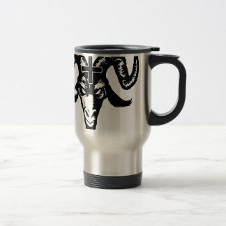 Satanic Goat Head with Cross (black) Stainless Steel Travel Mug