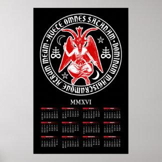 Satanic Goat of Mendes Baphomet 2016 Calendar Poster