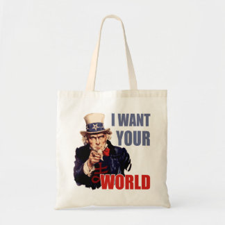 Satanic Uncle Sam World Domination Tote Bags