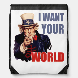 Satanic Uncle Sam World Domination Drawstring Bags