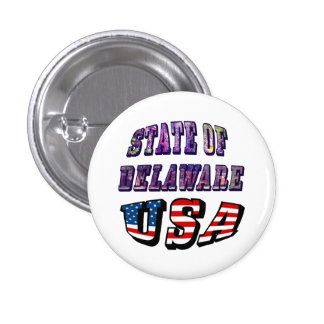 Sate of Delaware Picture and USA Flag Text 3 Cm Round Badge